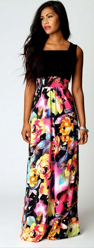 BOOHOO kiera rose print maxi dress
