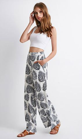 Forever 21 Leaf Print Palazzo Pants