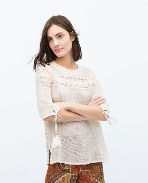 Zara Combined guipure lace mesh top
